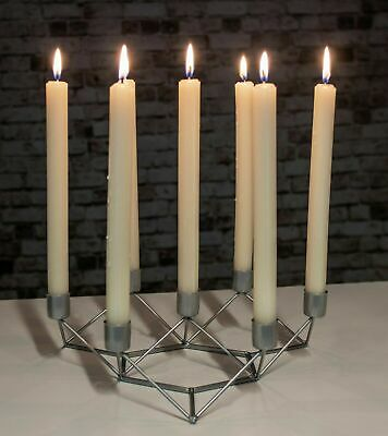 £9.59 • Buy 7 Taper Candle Holder Large Silver Modern Home Candlebra Geometric Centrepiece