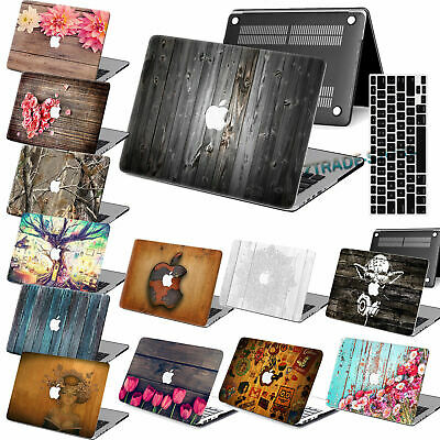 $13.93 • Buy 2in1 Wood Pattern Rubberized Hard Cut Out Case Key Cover For New Macbook Pro Air