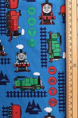 £7.50 • Buy Thomas The Tank Engine Fabric UK 100% Cotton Material Character Railway Blue