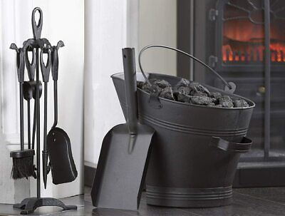Black Coal Scuttle Hod Bucket, Shovel & Fireside 5 Piece Cast Iron Companion Set • 39.95£