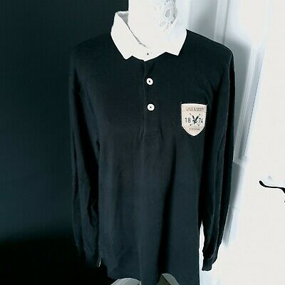 Men's Lyle And Scott Black Long Sleeve Rugby Polo Shirt - Large - 100% Cotton • 12.99£