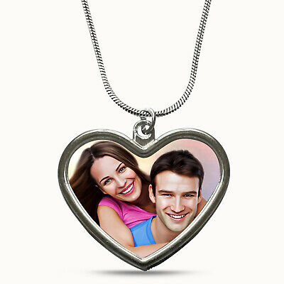 AU10.65 • Buy PERSONALISED PHOTO Heart Shape Necklace Great Gift Valentines Day Anniversary