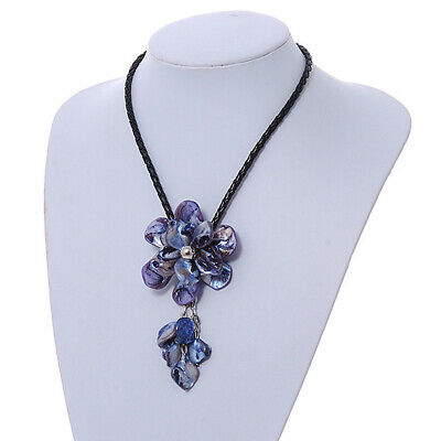 £5.99 • Buy Violet Blue Shell Flower Pendant With Black Faux Leather Cord Necklace - 44cm/