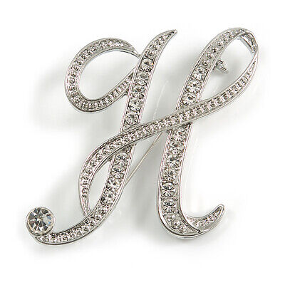£7.99 • Buy Clear Crystal Letter H Alphabet Initial Brooch Personalised In Silver Tone/43mm
