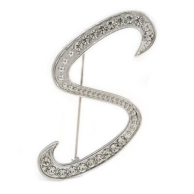 £10.99 • Buy Clear Crystal Letter S Alphabet Initial Brooch In Silver Tone - 45mm Tall