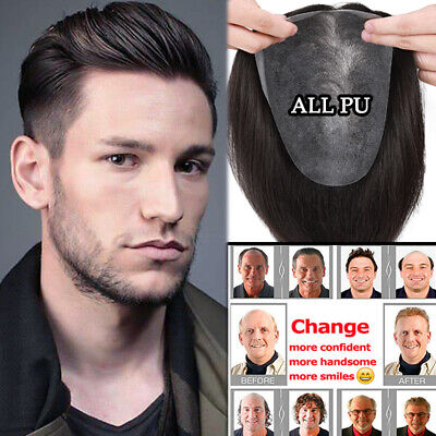 £34.20 • Buy Thin Skin ALL PU Durable Mens Toupee Remy Human Hair Replacement System Wig G21