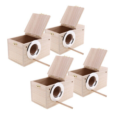 4Pc Wooden Budgie Nest Nesting Box Perch For Cage Aviary With Opening Top M • 41.53£