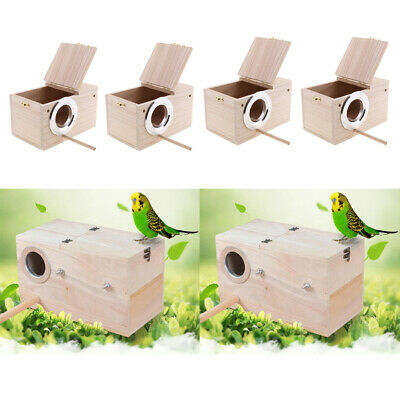 4Pc Wooden Budgie Nest Nesting Box Perch For Cage Aviary With Opening Top L • 34.68£
