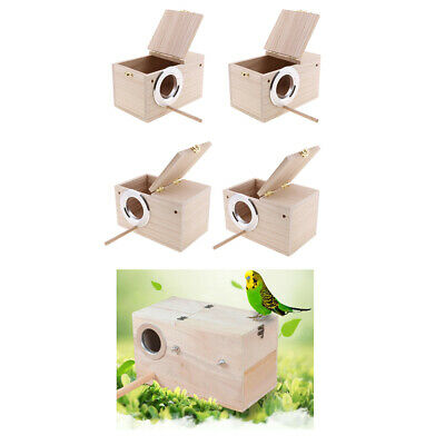 4Pc Wooden Budgie Nest Nesting Box Perch For Cage Aviary With Opening Top XL • 70.88£