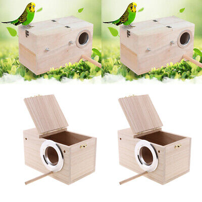 2x Wooden Budgie Nest Nesting Box Perch For Cage Aviary Opening Top S & L • 25.89£