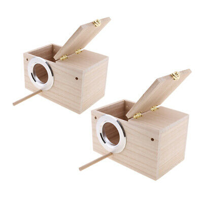 2x Wooden Budgie Nest Nesting Box Perch For Cage Aviary Opening Top M & XL • 29.23£
