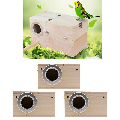 3x Wooden Budgie Nest Nesting Box Perch For Cage Aviary Opening Top • 27.17£