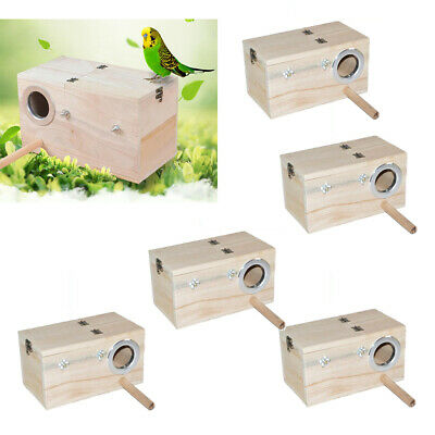 6Pc Wooden Budgie Nest Nesting Box Perch For Cage Aviary With Opening Top S • 28.40£
