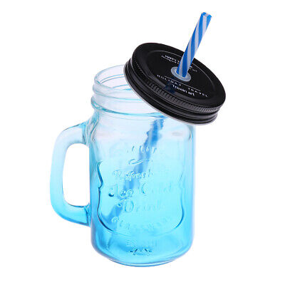 480ML Mason Jar With Handle And Straw In Caddy Drinking Glass Jar Lid Blue • 10.22£