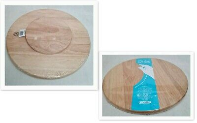 £14.99 • Buy 35CM Wooden Chopping BOARD Spin ROTATES Round Lazy Susan Cheese CAKE Icing CRAFT