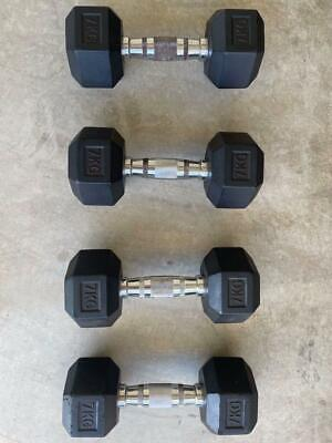 AU49 • Buy Rubber Hex Dumbbells 2 X 7kg Set For Gym Weight Training