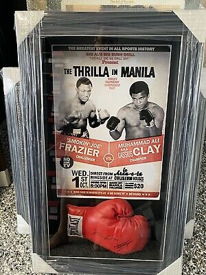 AU2995 • Buy Muhammad Ali And Joe Frazier Signed Boxing Glove And Original Magazine With COA