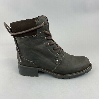 CLARKS Orinoco Spice Brown Leather Lace Zip Up Ankle Rider Booties Boots UK4 D • 45.10£