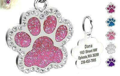 £4 • Buy FREE ENGRAVING Dog ID / Cat ID Name Bling Tag Paw Personalised Puppy Pet ID Tags