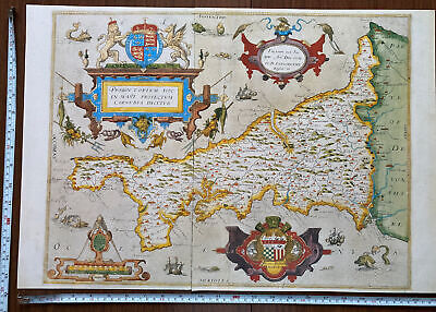£5.99 • Buy Old Antique Tudor Historic Saxton Poster Map Of Cornwall 1576 1500's Reprint