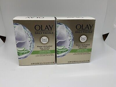 AU28.26 • Buy 2 Pk Olay Daily Facials 5in1 Sensitive Clean Water Activated 66 Dry Cloths Total