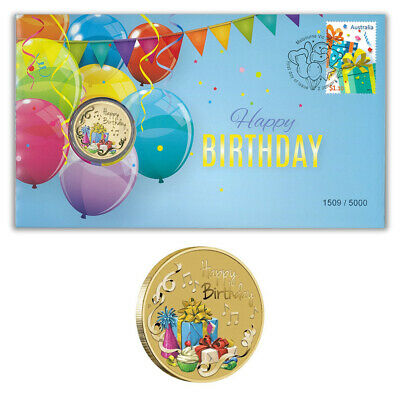 AU16 • Buy Australia 2020 Happy Birthday Stamp & $1 Dollar Coloured UNC Coin Cover - PNC