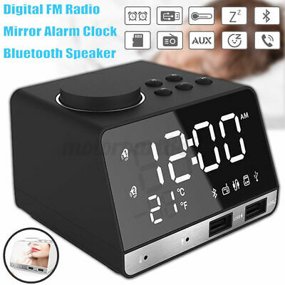 AU43.41 • Buy Digital Bluetooth Alarm Clock Wireless Radio Dual USB Charging Port Bass Speaker
