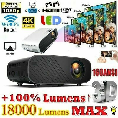 AU129.05 • Buy 18000 Lumens 4K 1080P HD WiFi Mini 3D LED Home Theater Projector Cinema HDMI