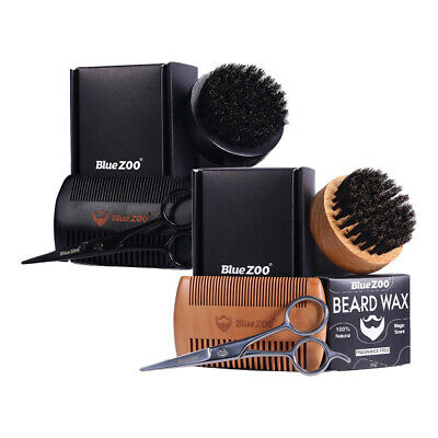 2 Set Beard Grooming Kit With Beard Brush Moustache Wax Scissors Comb Gift Set • 19.62£