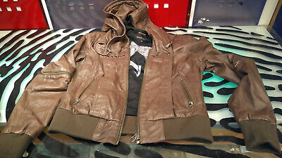 $ CDN89 • Buy Danier Womens Leather Jacket Brown Size Medium Good Condition Motorcycle Style