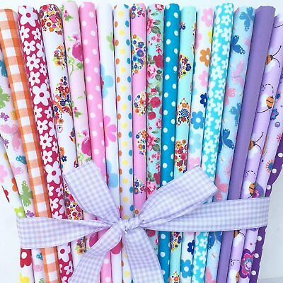 £6.99 • Buy Fabric Remnants Bundle Material Polycotton Quilting Craft Floral Bee Butterfly