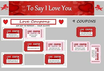 AU5.33 • Buy Love Valentines Day Coupons Vouchers Couple For Her Him Gift Present Funny UK
