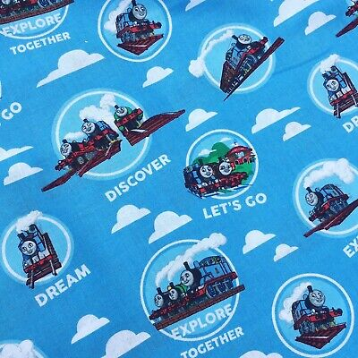 £6 • Buy Thomas The Tank Engine Clouds Material Fabric Blue 100% Cotton X Half Metre