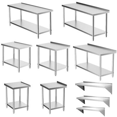 2-6FT Stainless Steel Kitchen Catering Work Table Bench Worktops Top Wall Shelf • 151.14£