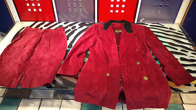 $ CDN99 • Buy Danier Red Suede 2 PC Suit Jacket Size Small & Skirt Size 12 Good Shape Leather