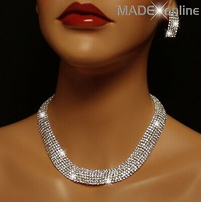 £12.99 • Buy Stunning Chunky Collarette Statement Necklace Set, Sparkle Silver Bridal Bling
