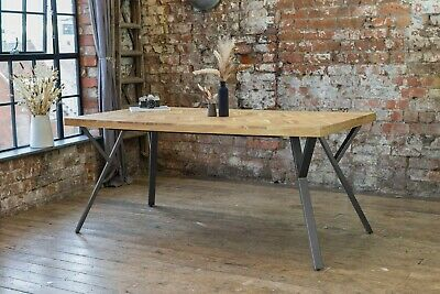 £599 • Buy Adria Parquet Style Solid Acacia Wood Luxury Industrial Dining Table + Grey Legs