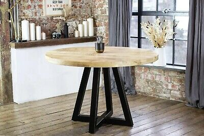 AU1069.47 • Buy Ida Round Solid Mango Wood Industrial Dining Table Distressed + Natural Finish