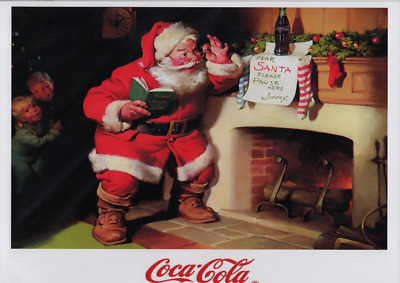 £3.99 • Buy Coca Cola A4 Size Poster - Santa Next To Fireplace Reading A Note From Jimmy.