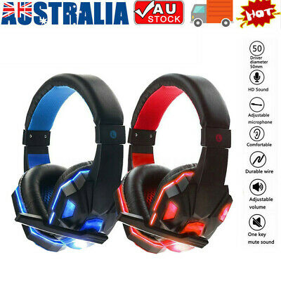 AU19.68 • Buy Gaming Headset Pro Gamer 3.5mm+USB MIC LED Headphones For PC Laptop PS4 Xbox One