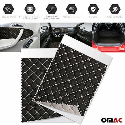 £35.42 • Buy 55 X39  Embossed Black Faux Leather White Diamond Stitch Car Upholstery Fabric