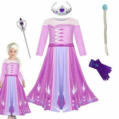 Queen Elsa 2 Cosplay Costume For Girl With Tiara Hair Clip Wand Gloves • 11.43£