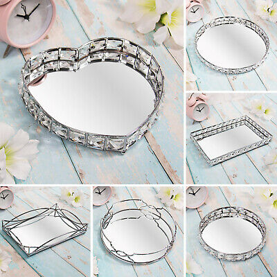 £10.95 • Buy Silver Mirror Diamante Candle Plate Tray Jewellery Ornament Tray Tealight Holder