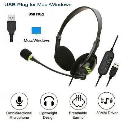 USB Wired Headset Over Ear Headphones For Computer PC Laptop Skype Call Center • 10.98£