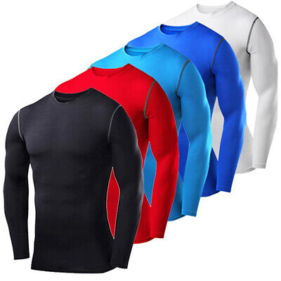 £8.99 • Buy Mens Armour Compression Base Layer Tops Long Sleeve Gym Sports Shirt T-Shirt