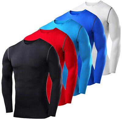 Mens Armour Compression Base Layer Tops Long Sleeve Gym Sports Shirt T-Shirt • 8.99£