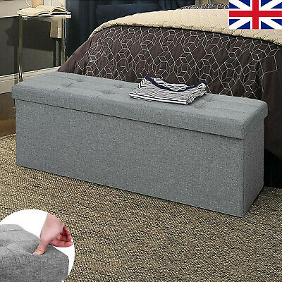 Large Grey Fine Linen Folding Storage Ottoman Pouffe Seat Foot Stool Storage Box • 19.49£