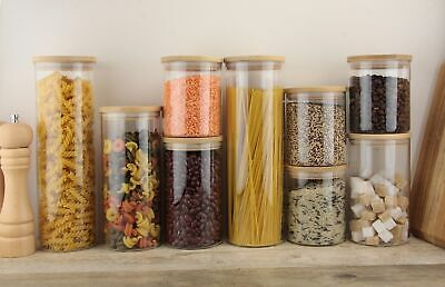 £8.99 • Buy Glass Jar Borosilicate Storage Container With Bamboo Lid Food Rice Pasta Jars
