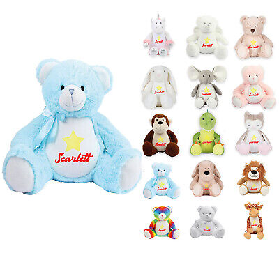 Personalised Soft Toy Teddy Bear Embroidered Baby Christening Birthday Gift 40 • 21.99£