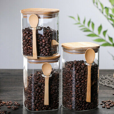 £11.90 • Buy Tall Borosilicate Glass Airtight Bamboo Lid Food Storage Jars With Wooden Spoon